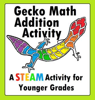 Leopard Gecko STEM Lizard Reptiles Mascot Math Addition Worksheet STEAM