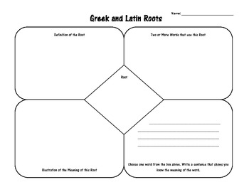 Geek and Latin Roots Worksheet