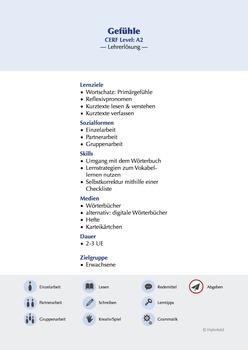 Gefühle/Emotions A2 German as a Foreign Language (GFL) - Answer key (A)