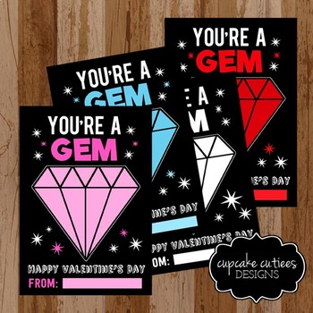 Gem Glitter Valentine Card Favor Hand out Classroom Party Favor Printable