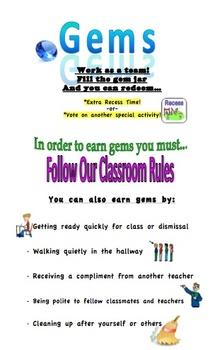 Gem Jar Procedure: Classroom Incentive Reminder