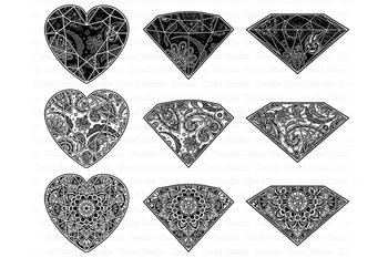 Gem Mandala SVG, Diamond Mandala SVG, Diamond Zentagle SVG.