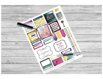 Gem-Toned Teacher Sticker Sheet PRINTABLE