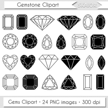 Gemstone Clipart Jewelry Clip Art Digital Gems Vector Diamond Silhouette