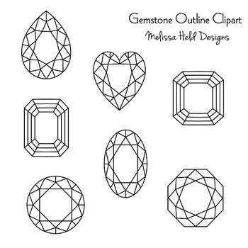 Gemstone Outlines Clipart
