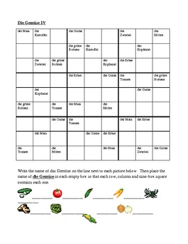 Gemüse (Vegetables in German) Sudoku