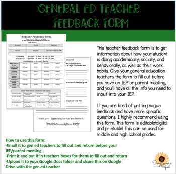 Gen Ed Teacher Feedback FormStudent Feedback Form For IepS  Tpt