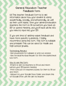 Gen Ed Teacher Feedback Form/Student Feedback Form for IEP's