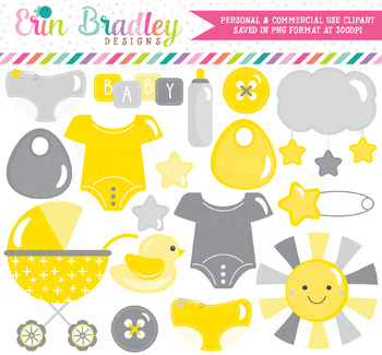 Gender Neutral Baby Clipart in Yellow & Gray