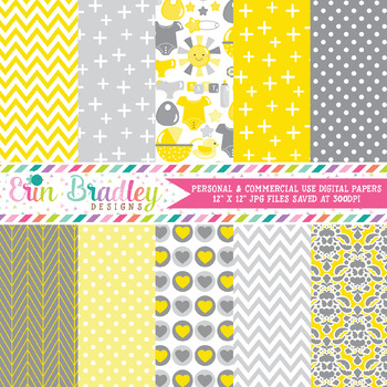 Gender Neutral Baby Digital Paper Pack in Yellow and Gray