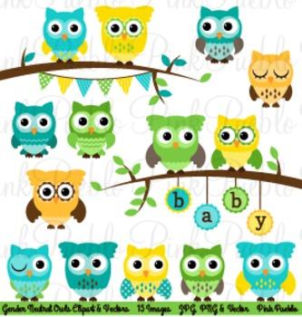 Gender Neutral Baby Shower Owls Clip Art Clipart