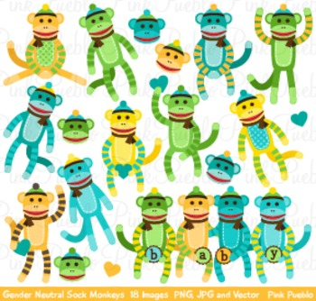 Gender Neutral Baby Shower Sock Monkeys Clipart Clip Art
