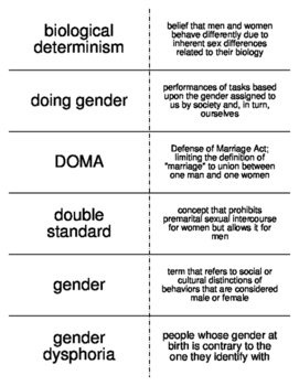 Gender, Sex, and Sexuality Vocabulary Flash Cards for Sociology