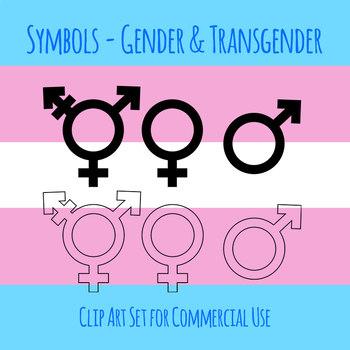 Gender Symbols Simple Line Art Clip Art Set for Commercial use