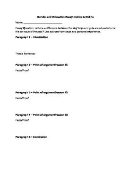 Gender and Education Essay Outline & Rubric
