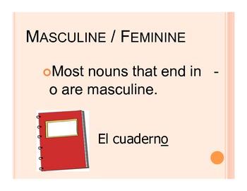 Spanish Nouns and School supplies presentation