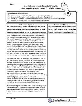 Gene Regulation and Operon Video Script TEMPLATE by Amoeba Sisters