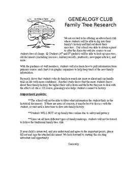 Genealogy Club Permission Slip / Family Tree Research