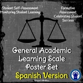 General Academic Learning Scale Poster/Slide Set in SPANISH (Chalkboard Theme)