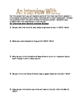 General Andrew Jackson - The War of 1812 Interview Activity