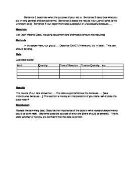 General Chemistry Lab Report instructions and rubric
