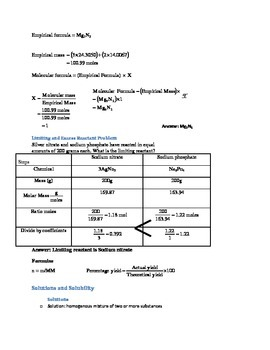 General Chemistry Quick Review (Handout and Study Aid)