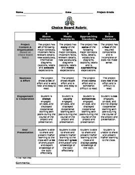 General Choice Board Rubric