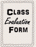 General Class Evaluation Form
