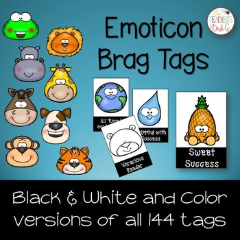 General Classroom Emoticon Brag Tags for Big Kids