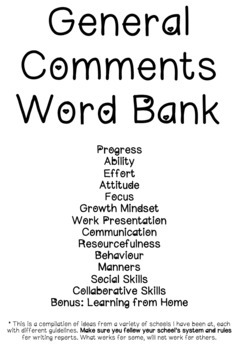 General Comment Word Bank