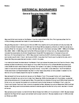 General Douglas Haig  Biography Article and (3) Assignments