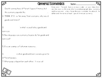 Basic Economics {Differentiated Reading Passages & Questions}