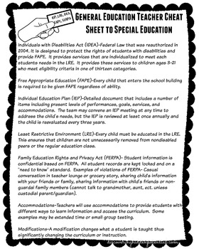 General Education Cheat Sheet to Special Education
