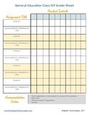 General Education Class IEP Grading Sheet