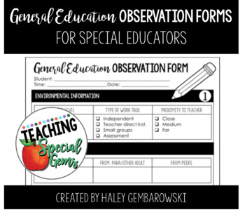 General Education Observation Form - For Special Educators