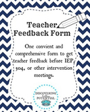 General Education Teacher Feedback Form