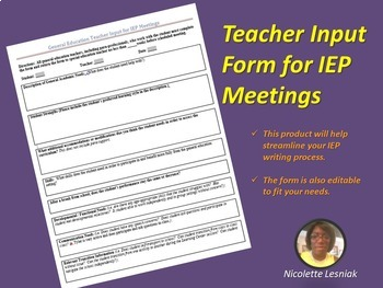 General Education Teacher IEP Input Form
