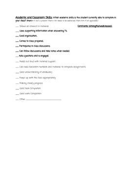 General Education Teacher Input Checklist for IEP Meetings