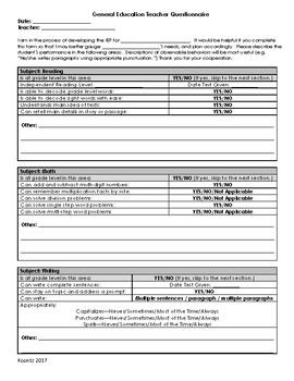 General Education Teacher Input Form