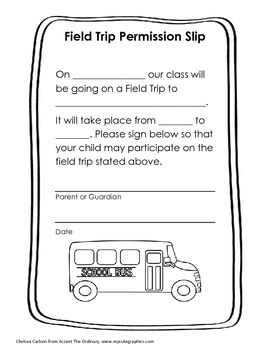 General Field Trip Permission Slip Form