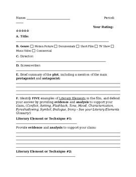 General Film Analysis Worksheet by ELA Lab   Teachers Pay ...