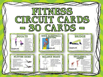 Fitness Circuit Training Cards - 30 Cards