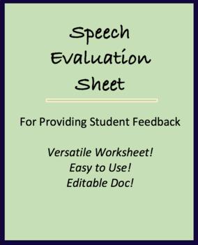 General Form for Presentation; Speech Evaluation Sheet for multiple grades