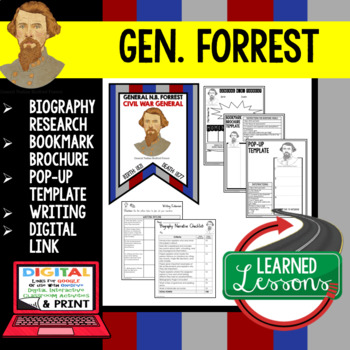 General Forrest Biography Research, Bookmark Brochure, Pop-Up, Writing, Google