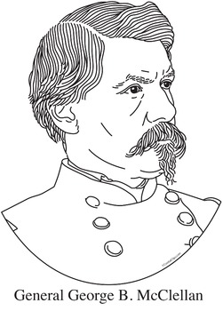 General George B. McClellan Realistic Clip Art, Coloring Page, and Poster