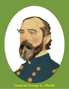 General George G. Meade Realistic Clip Art, Coloring Page,