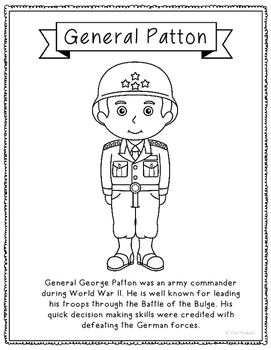 General George Patton Coloring Page Craft or Poster with Biography, Army