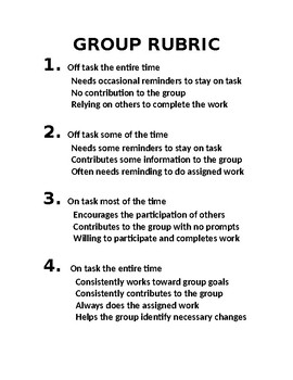 General Group Rubric