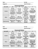 General Homework Rubric for Grading on a Half Sheet