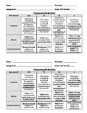 General Homework Rubric for Grading on a Half Sheet